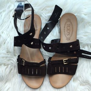 """Tod's Brown Suede """"Forature"""" Cutout Sandals"""